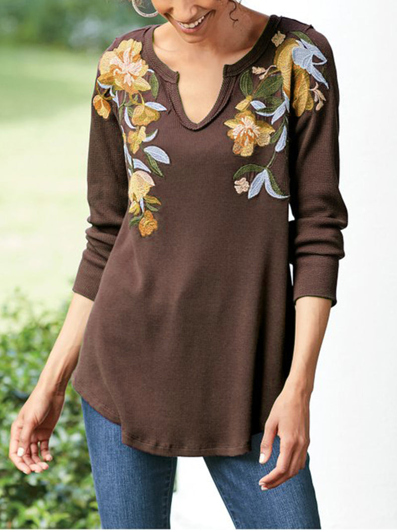 V Neck Floral-Embroidered Floral Casual Shirts & Tops