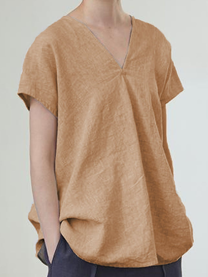 Beige Short Sleeve Linen Shirts & Tops