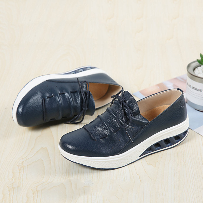 Large Size Rocker Sole Lace Up Cow Leather Shoes