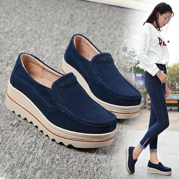 Suede Slip On Platform Shoes