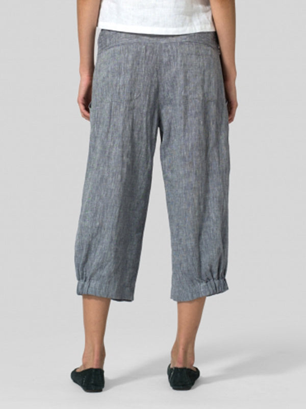 Women Casual Linen Pants Soild Pleated Cotton Pockets Empire Capri bottoms