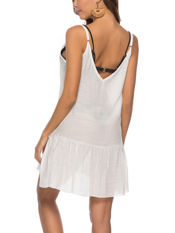 White V Neck Linen Sleeveless Swimwear