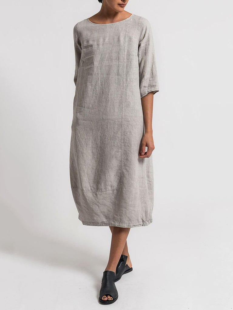 53bbe014db Cotton Casual 3 4 Sleeve Solid Linen Maxi Dresses – NORACORA