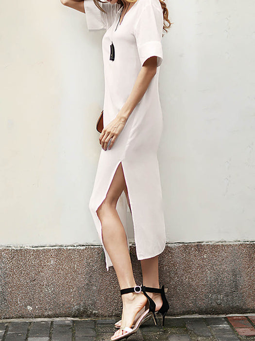 White Basic Paneled Cotton V Neck Casual Dress