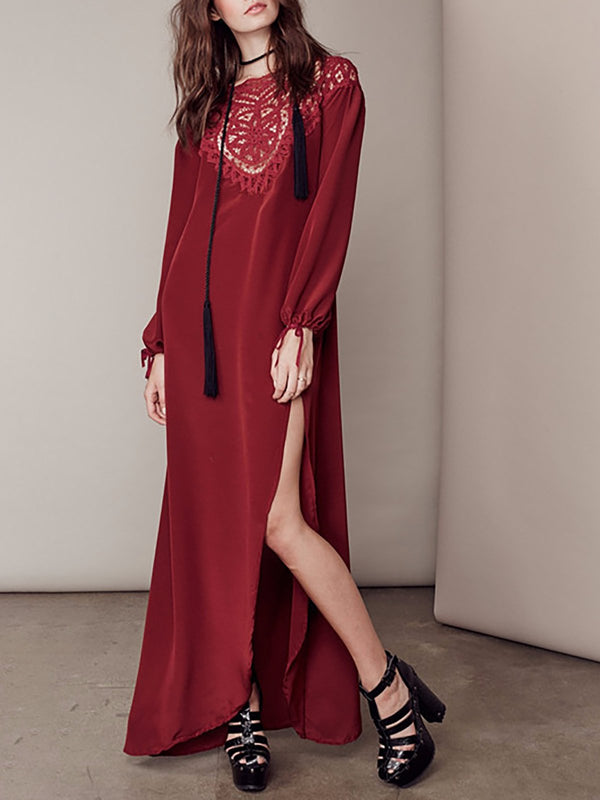 Burgundy Crew Neck Shift Long Sleeve Boho Dress