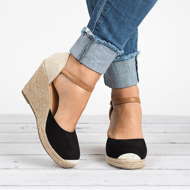 Women Ankle Strap Espadrilles Wedges closed toe sandals