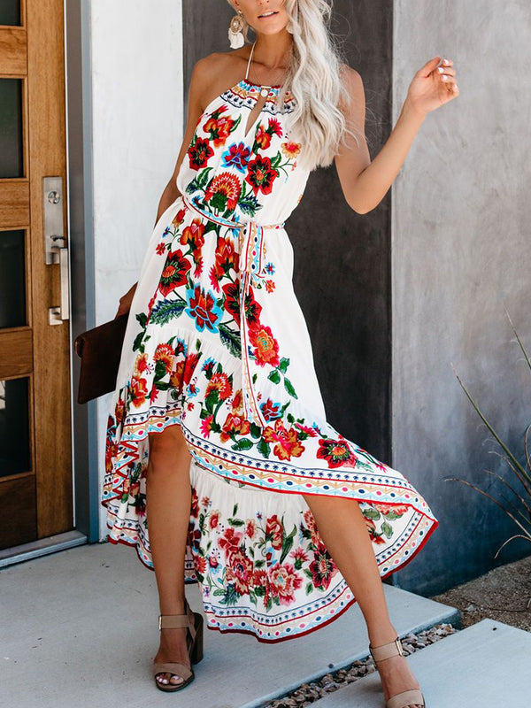 Plus Size Casual Sleeveless Floral Dresses