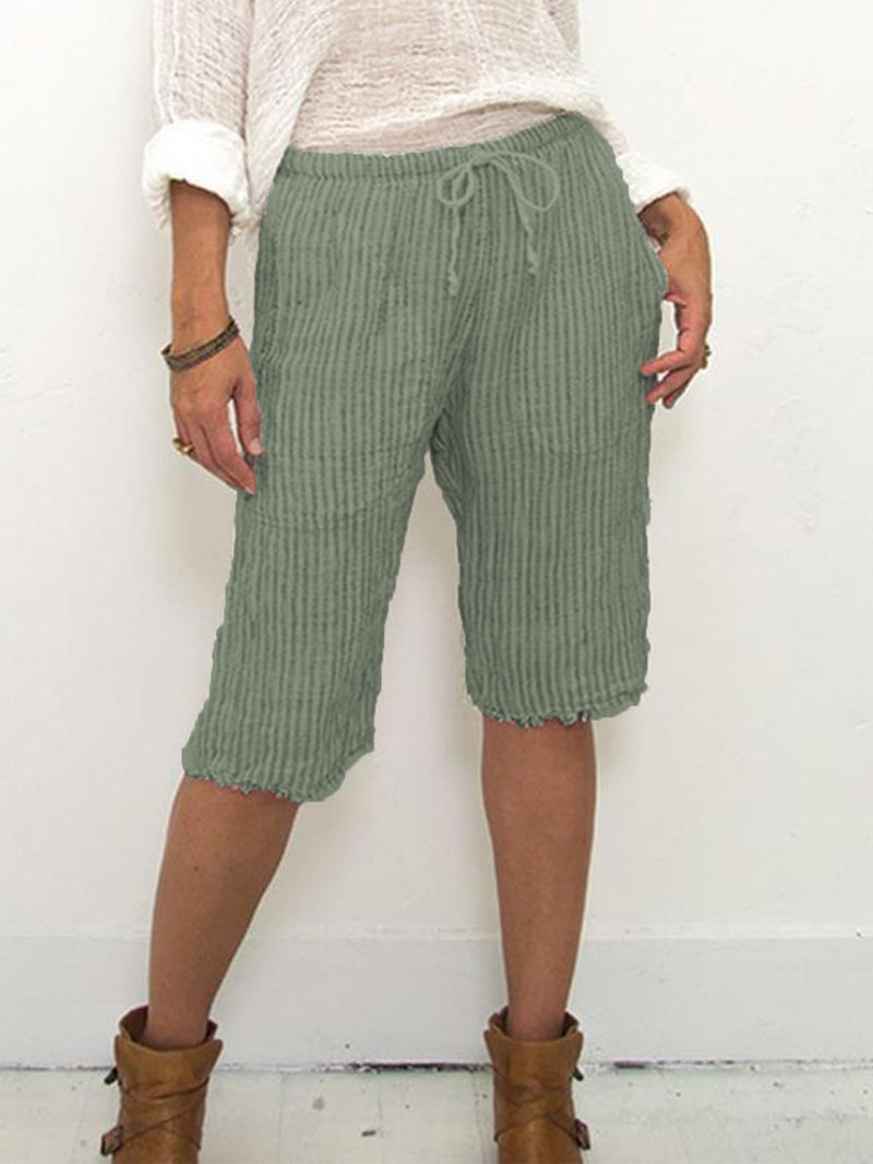 Plus Size Casual Striped Pockets Pants