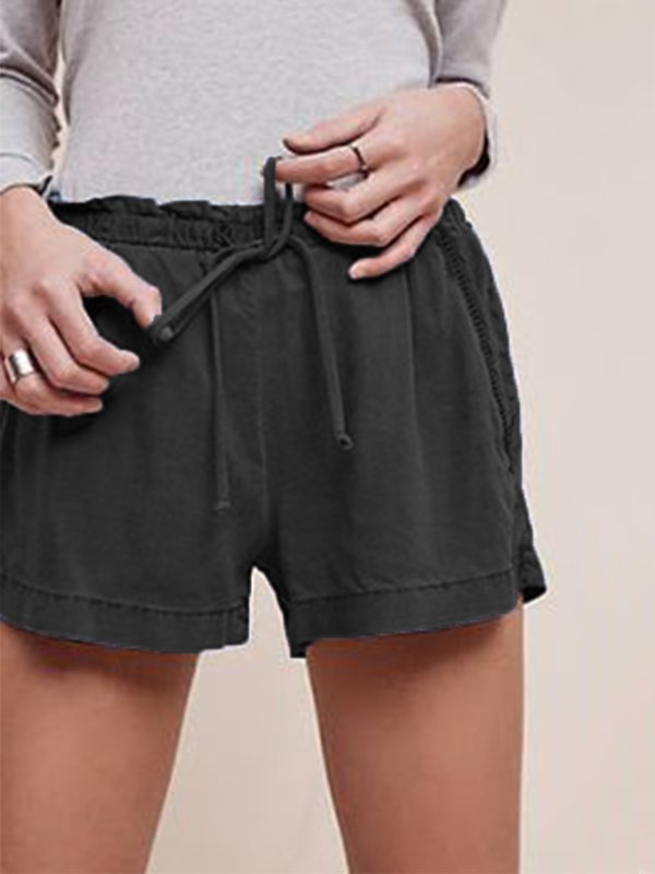 Casual Plus Size Solid Shorts
