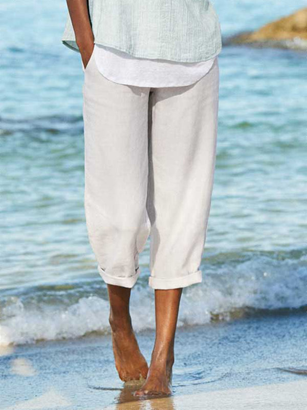 White Cotton Solid Casual Pants