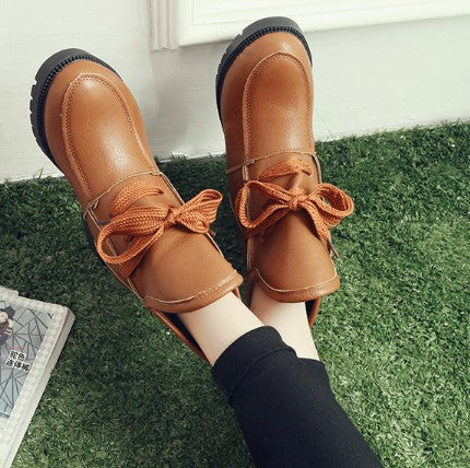 Brown Spring/Fall PU Lace-up Chunky Heel Boots