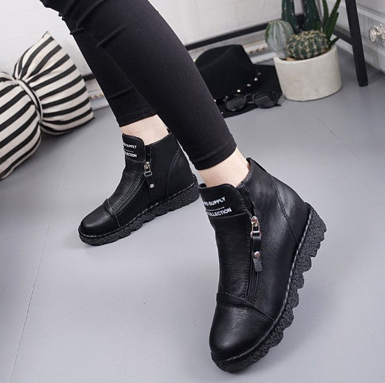 Gray Zipper Spring/Fall Artificial Nubuck Daily Platform Boots