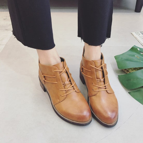 Brown PU Chunky Heel Lace-up Spring/Fall Boots