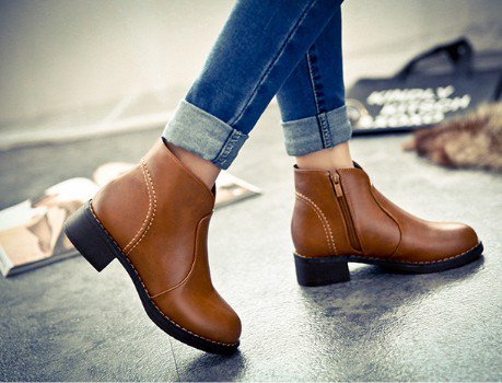 Brown Zipper Chunky Heel Daily Spring/Fall Boots