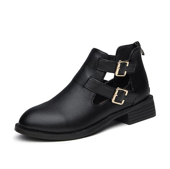 Women Spring Ankle Chunky Heel Booties Hollow-out Boots