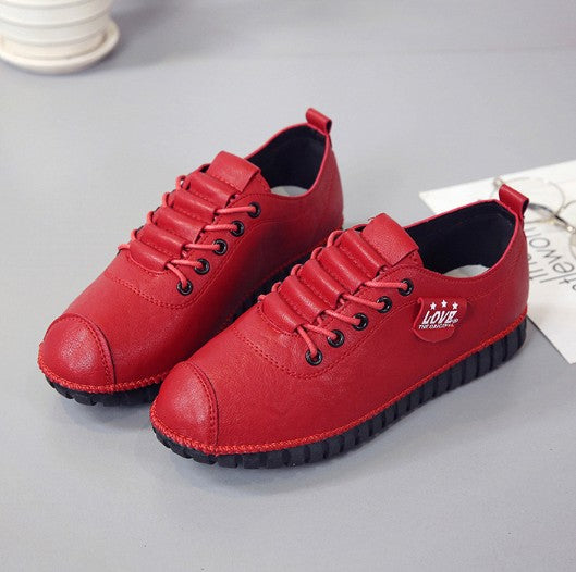 Red Daily Flat Heel Spring/Fall PU Lace-up Boots
