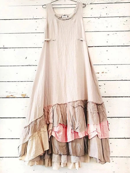 Cream Sleeveless Cotton-Blend Round Neck Dresses