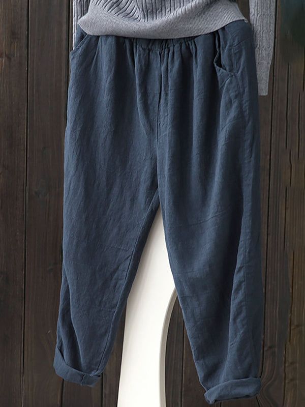 Linen Solid Casual Pants