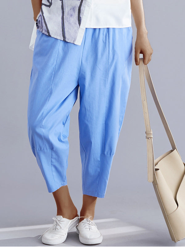Plus Size Women Solid Cotton Loose Casual Harem Cropped Pants