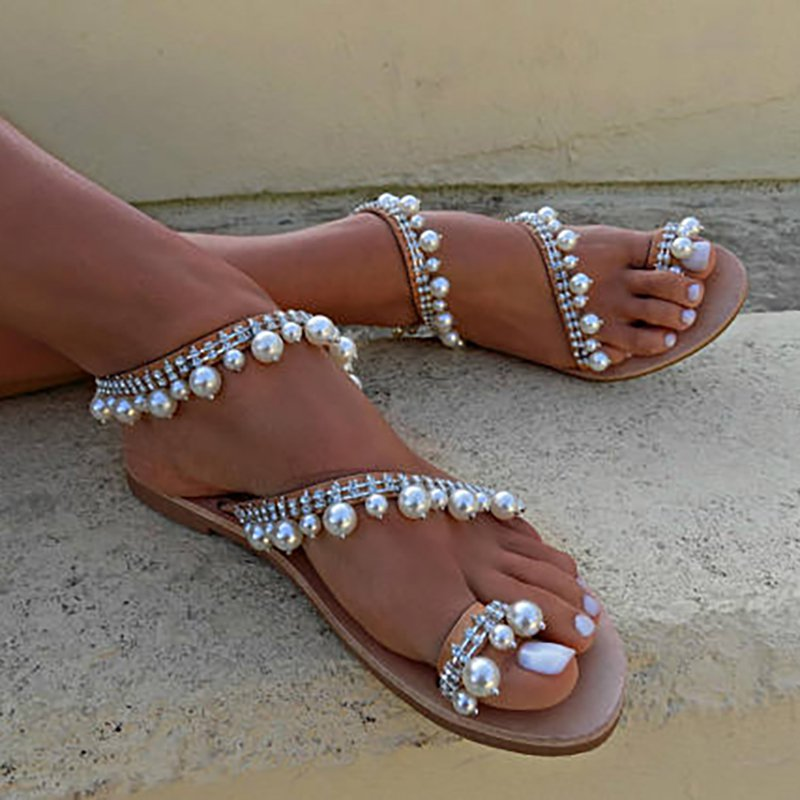 Women Brown Leather Sandals Casual Pearls Daily Shoes