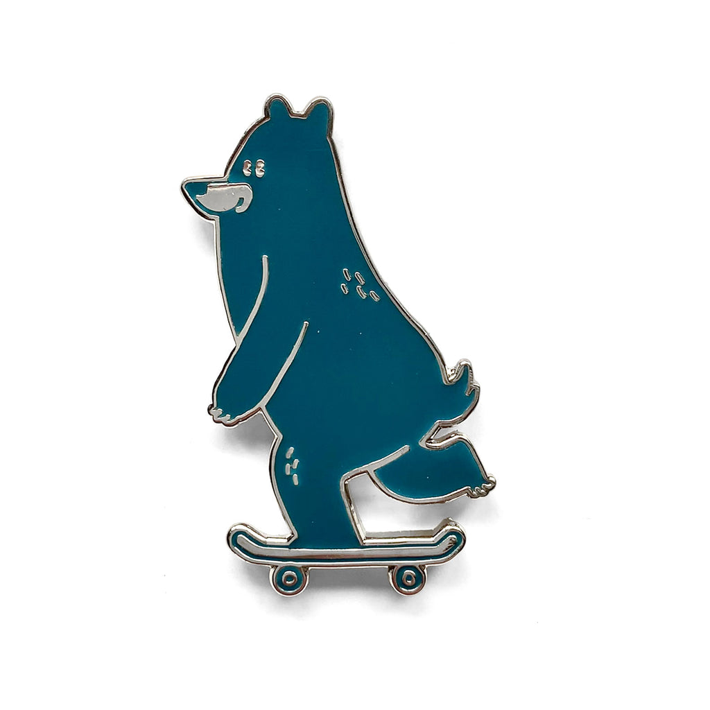 Skateboarding Bear Pin