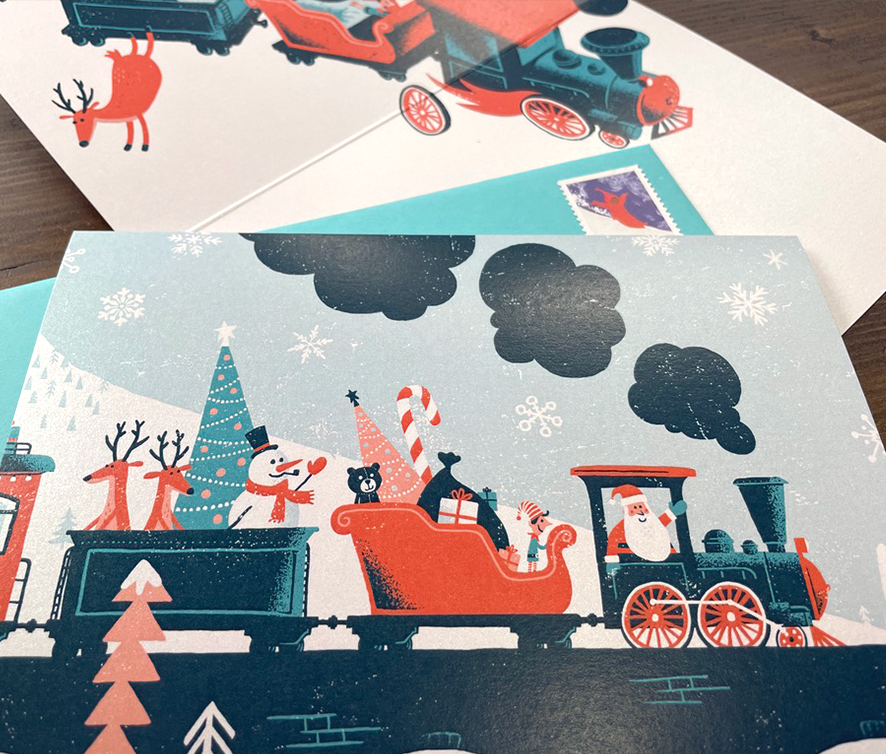 TRAIN WRECK HOLIDAY CARD