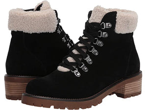Suede Shearling Lace-up Bootie