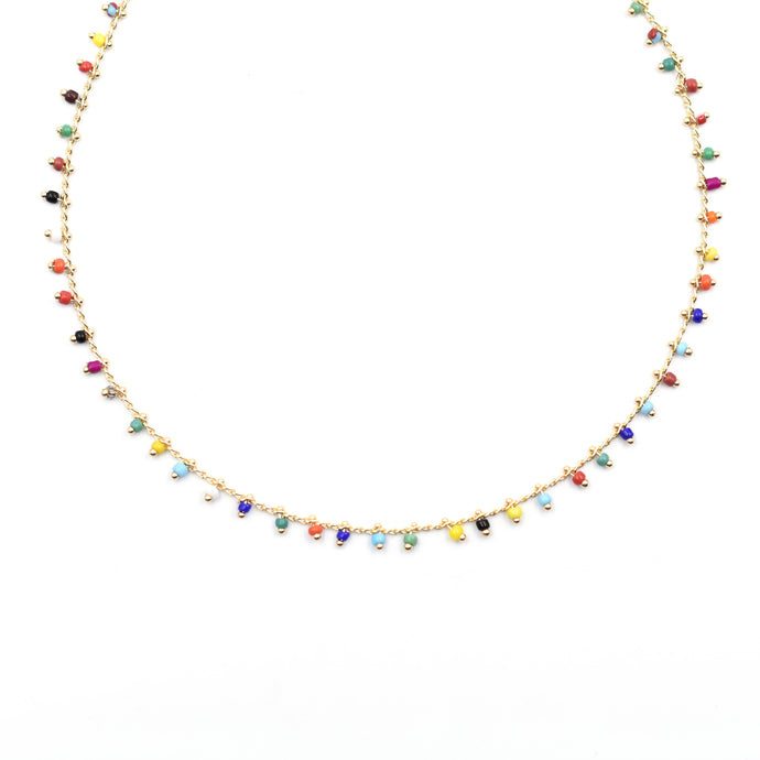 Topaz & Pearl Rainbow Necklace