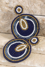 Navy Sequin + Seed Earring