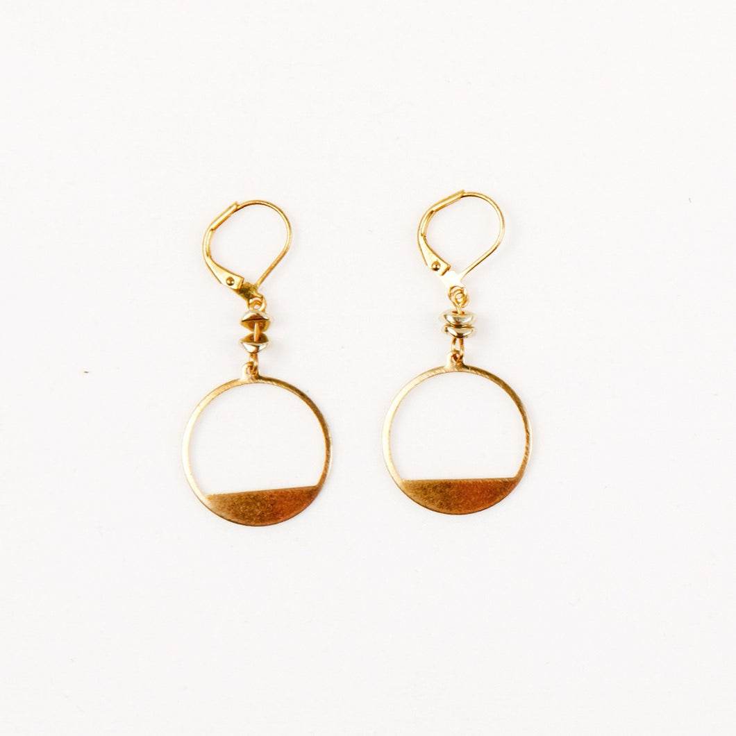 Cut Out Circle Earrings (Gold)