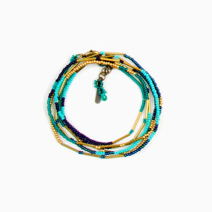 Beaded Necklace/Bracelet Wrap-Turquoise