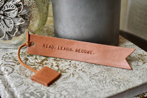Leather Book Mark-Cognac- Read. Learn. Become.