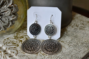 Double Disc Flower Earrings
