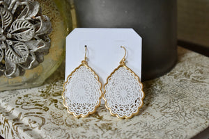 White Tear Drop Earring