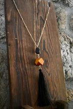 Wooden Block Black Tassel Necklace
