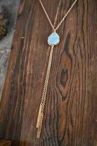 Blue Stone Bar Necklace