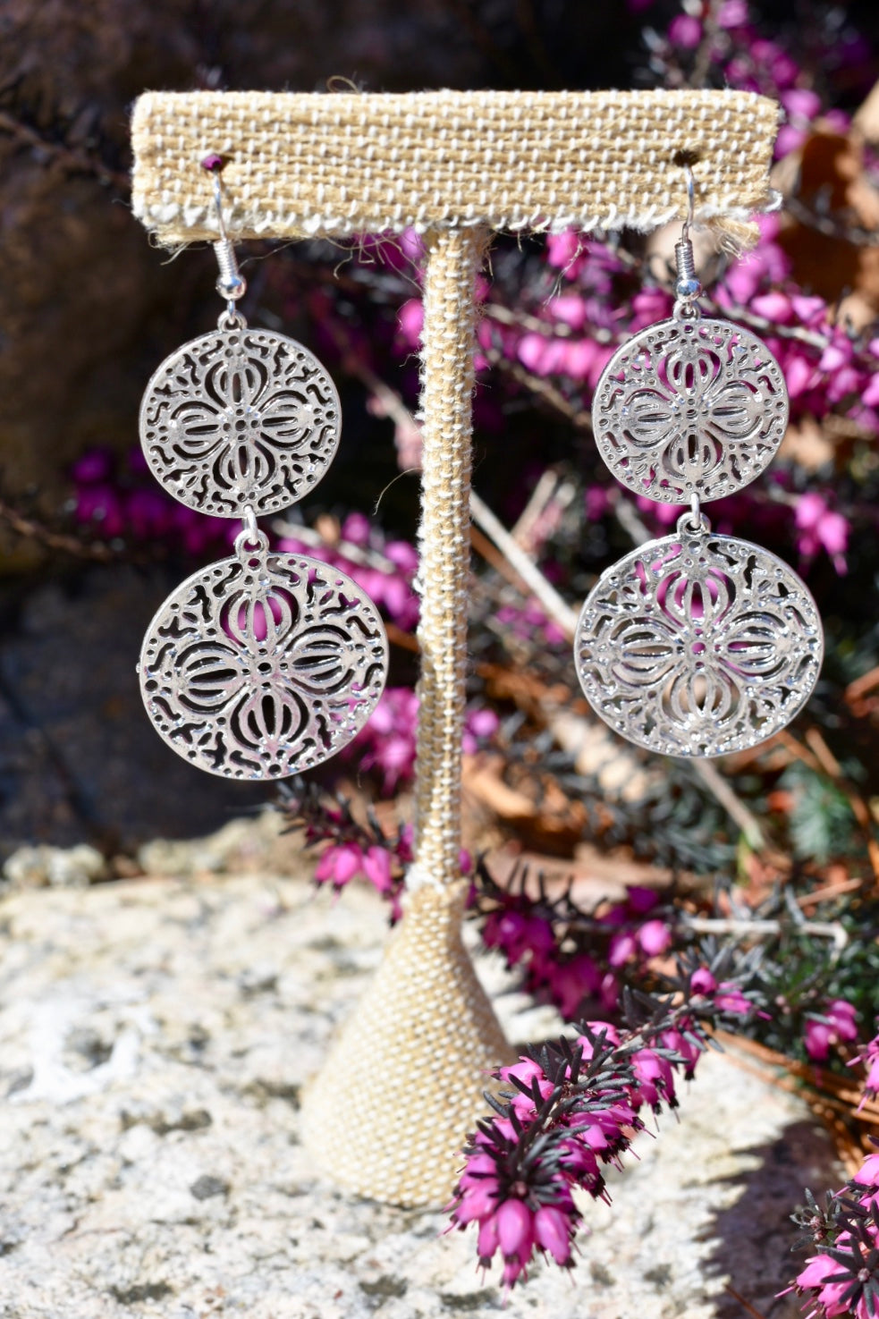 Floral Silver Disc Earring