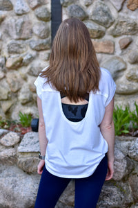 Athleisure Cut Out Back Top (White)