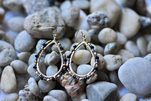 Black Beaded Dangle Hoops