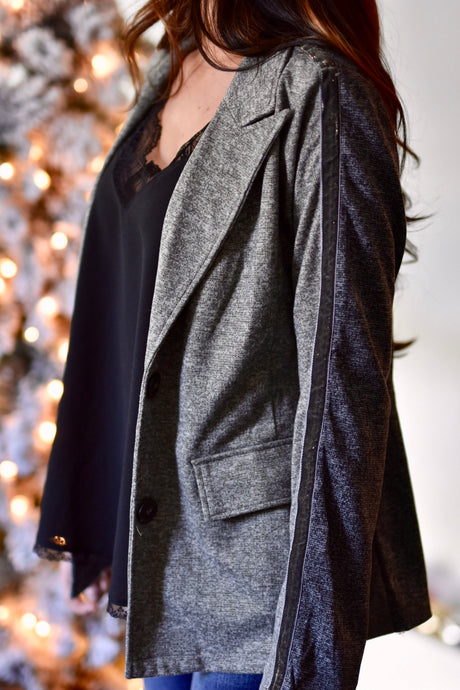 Home For The Holidays Mixed Charcoal Blazer