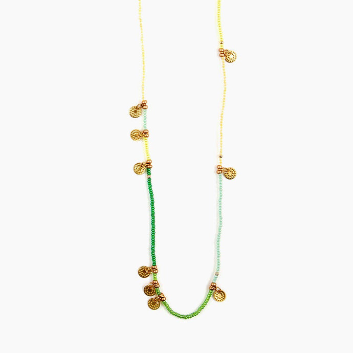 Sun Disc Wrap Necklace/Bracelet Spring Green