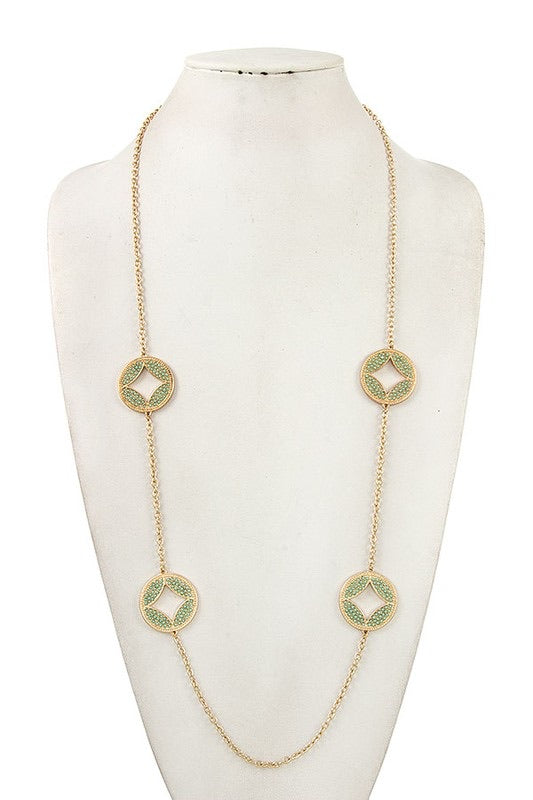 Mint + Gold Disc Necklace