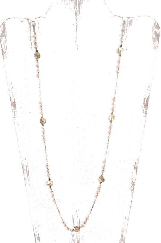 Golden Bead + Disc Necklace