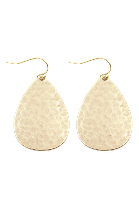 Hammered Tear Drop Earrings (Gold)