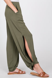 Side Slit Olive Pants