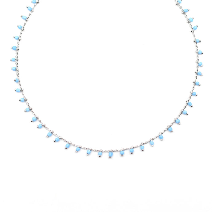 Topaz & Pearl Blue Necklace (Silver Chain)