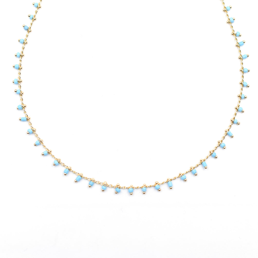 Topaz & Pearl Blue Necklace (Gold Chain)
