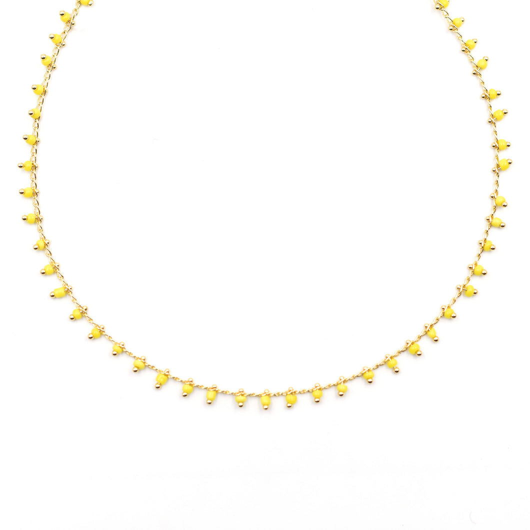 Topaz & Pearl Yellow Necklace