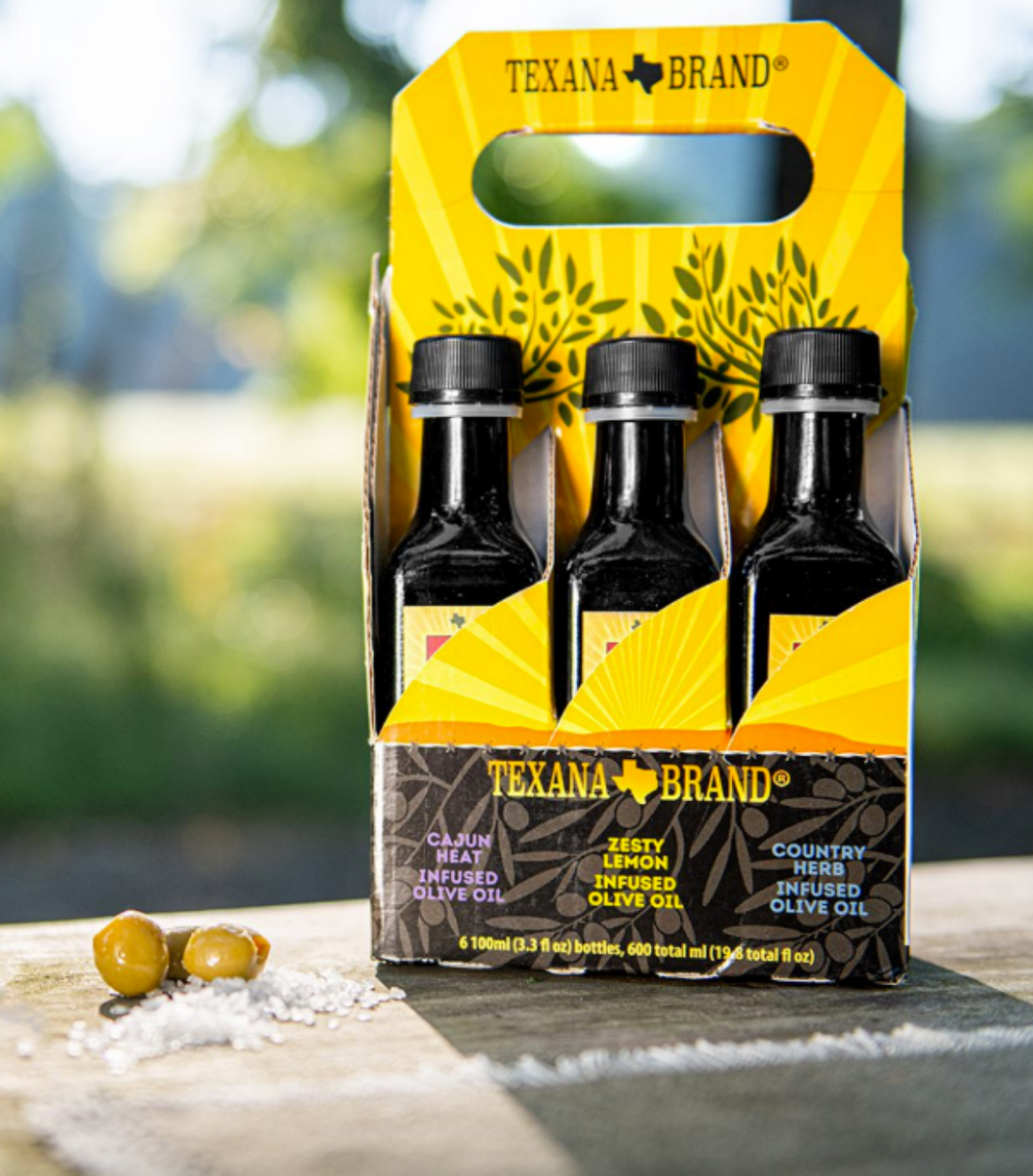 Texana Brand Extra Virgin, Roasted Garlic, Smokey Mesquite, Cajun Heat, Zesty Lemon, and Country Herb  Six-Pack Sampler (3.3 oz Bottles)