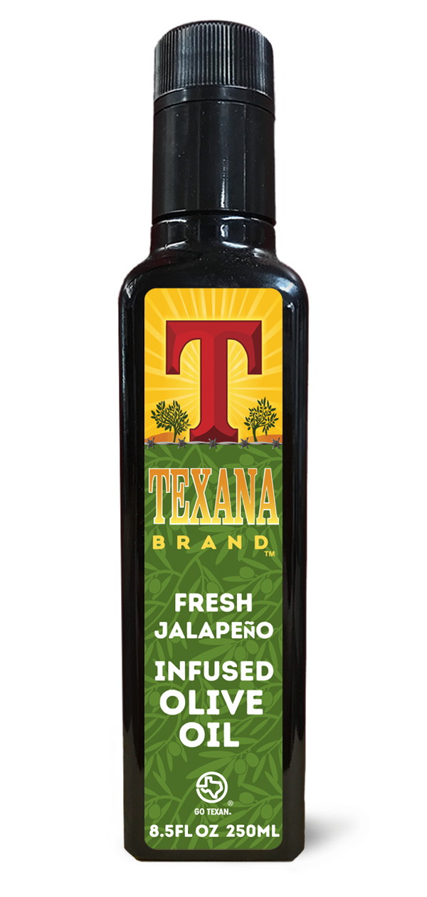 Texana Brand Fresh Jalapeno Infused Olive Oil, 250ml (8.5oz)